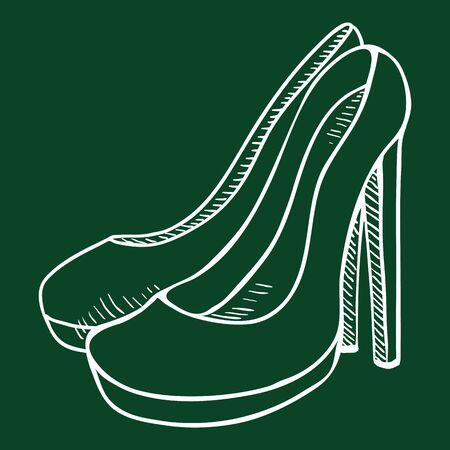 Chalk Sketch Illustration - Women High Heel Shoes 矢量图像