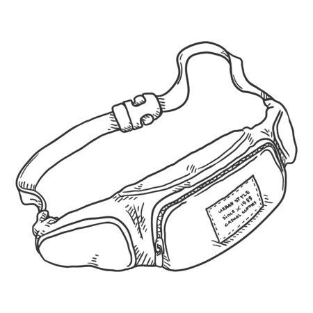Belt Bag. Vector Sketch Illustration of Beltbag