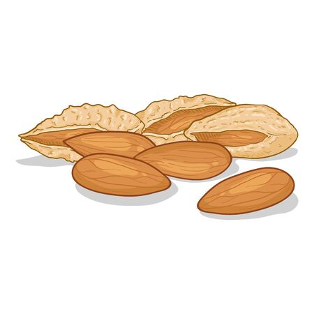 Cartoon Illustration - Pile of Almonds Иллюстрация