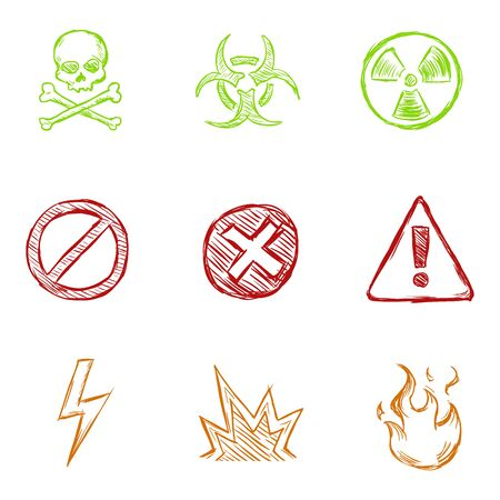 Vector Set of Color Sketch Warning Icons