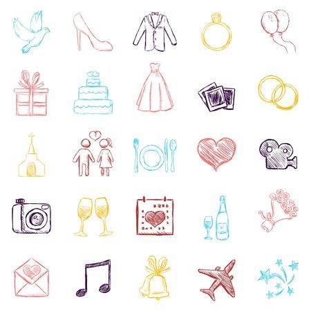 Vector Set of Color Sketch Weddings Icons