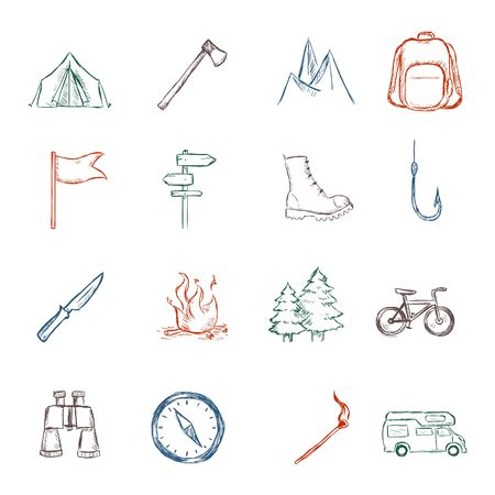 Vector Set of Color Sketch Hiking and Camping icons Ilustracja