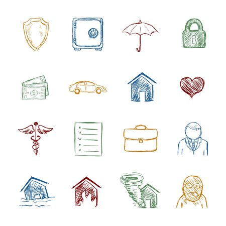 Vector Set of Color Sketch Insurance Icons