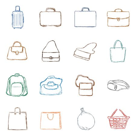 Vector Set of Color Penciling Sketch Bags Icons Illustration