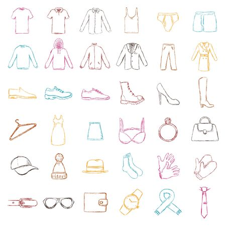 Vector Set of Isolated Color Sketch Clothes Icons
