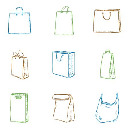 Vector Set of Isolated Color Sketch Shopping Bags Icons Иллюстрация