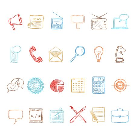 Vector Set of Color Sketch Advertising Icons. Types of Advertisement.