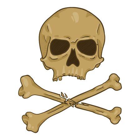 Vector Cartoon Old Brown Skull with Cross Bones Ilustração