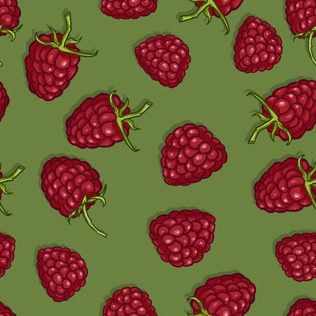 Vector Seamless Pattern of Raspberries on Green Background