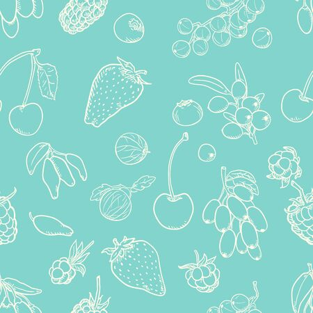 Vector Seamless Pattern of Berries on Turquoise Background Illustration