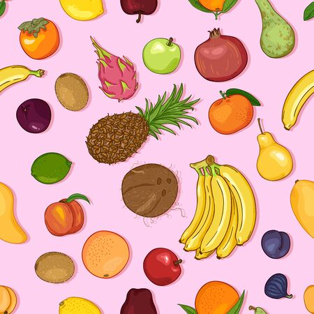Vector Seamless Pattern of Cartoon Exotic Fruits on Pink Background
