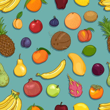Vector Seamless Pattern of Cartoon Exotic Fruits on Turquoise Background Çizim