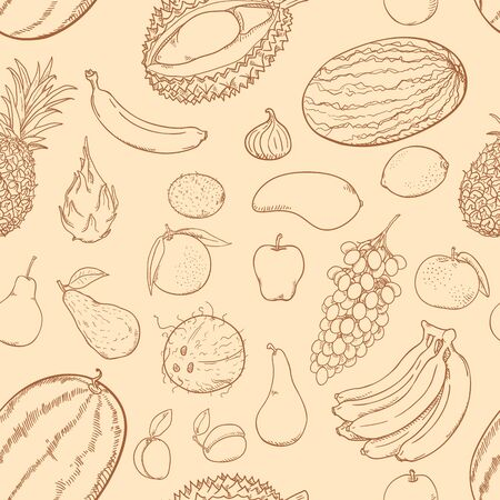 Vector Seamless Pattern of Brown Sketch Fruits on Beige Background