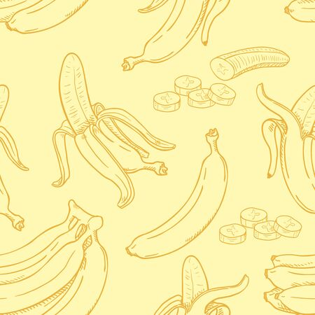 Vector Seamless Pattern of Sketch Bananas on Yellow Background