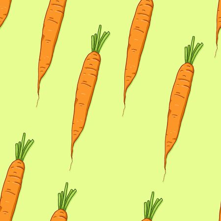 Vector Seamless Pattern of Cartoon Carrot on Green Background Stock Illustratie