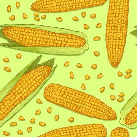 Vector Seamless Pattern of Cartoon Corn on Green Background Illustration