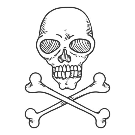 Vector Hand Drawn Sketch Skull and Crossbones. Penciling Pirates Sign. Vetores