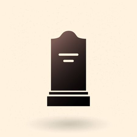 Gravestone Icon. Vector Black Silhouette of Tombstone