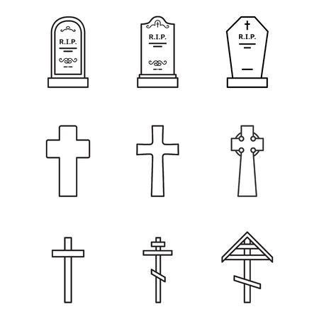 Ensemble vectoriel d'icônes de cimetière. Pierres tombales, pierres tombales, pierres tombales et croix. Symbole funéraire.