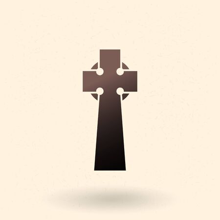 Gravestone Icon. Vector Black Silhouette of Celtic Tomb Cross