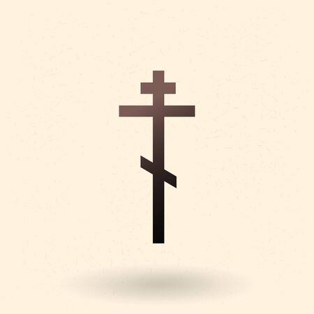 Vector Black Silhouette of Ortodox Cross. Religion Icon. Christian Symbol.