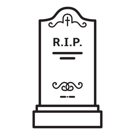 Tomb Icon. Vector Black Outline Illustration of Headstone