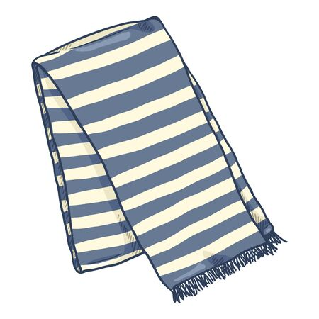 Vector Cartoon Folded Striped Scarf. Blue and White Neck Wear  イラスト・ベクター素材