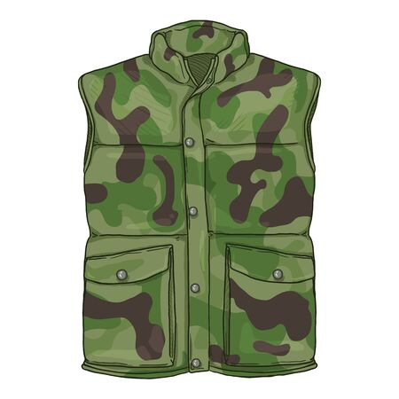 Vector Cartoon Camouflage Down Vest. Waistcoat Illustration.