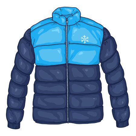 Ilustracja wektorowa kreskówka niebieska kurtka puchowa z logo płatka śniegu Logo