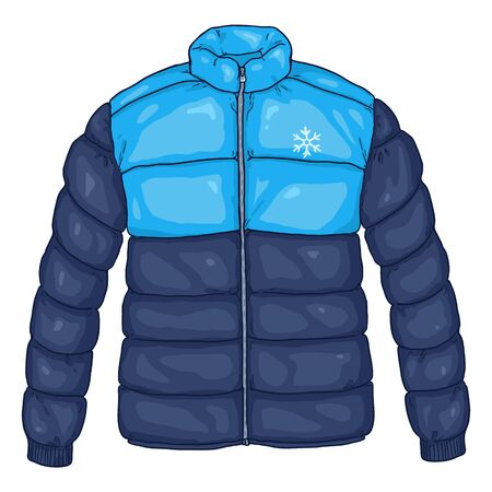 Vector Cartoon Blue Down Jacket Illustration with Snowflake Logo Illustration