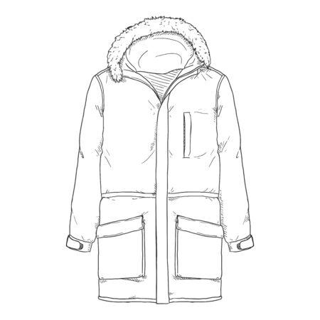 Vektor-Skizze-Parka-Jacke. Winter-Oberbekleidung.
