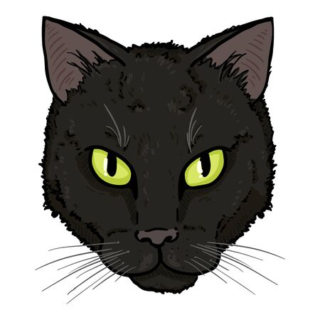 Vector Cartoon Black Cats Portrait. Feline Face Illustration. Illustration