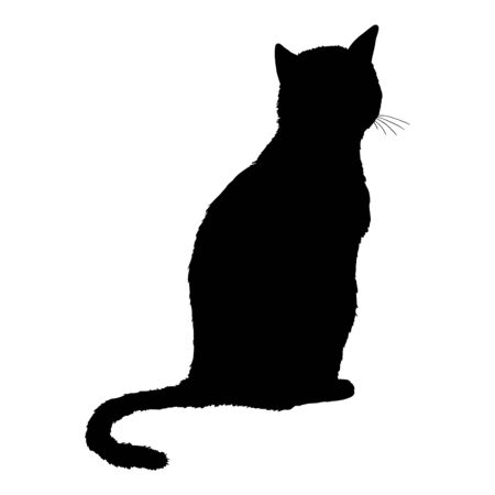 Sitting Cat SIlhouette. Vector Black Feline Logo.