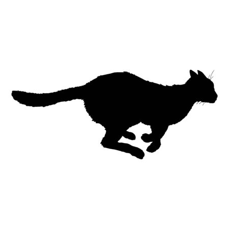 Running Cat SIlhouette. Vector Black Feline Logo.