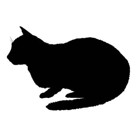 Lying Cat SIlhouette. Vector Black Feline Logo. Illustration