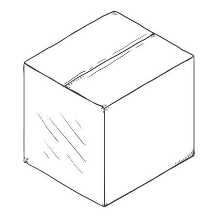 Vector schets gesloten kast kartonnen doos