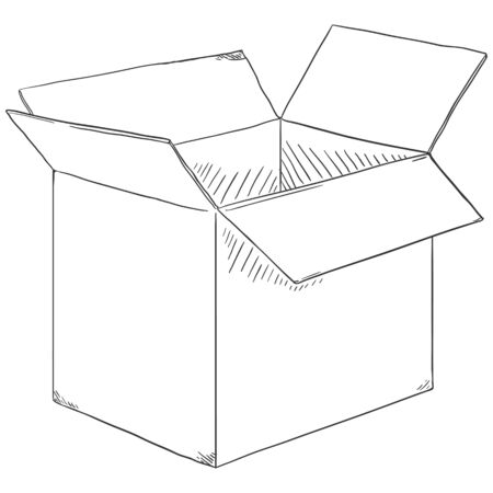Vector Sketch Open Cubicle Cardboard Box Illustration
