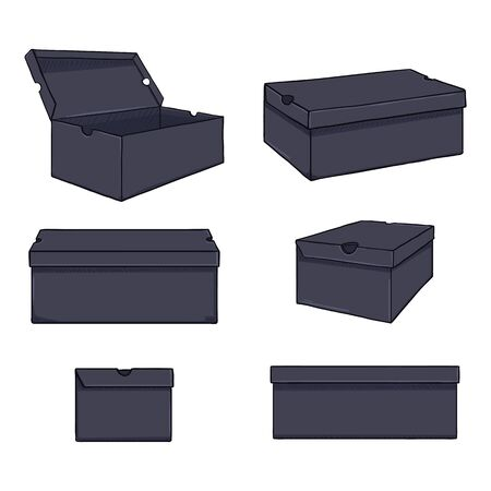 Vector Set of Cartoon Shoe Boxes Illustration. Different Views Variations