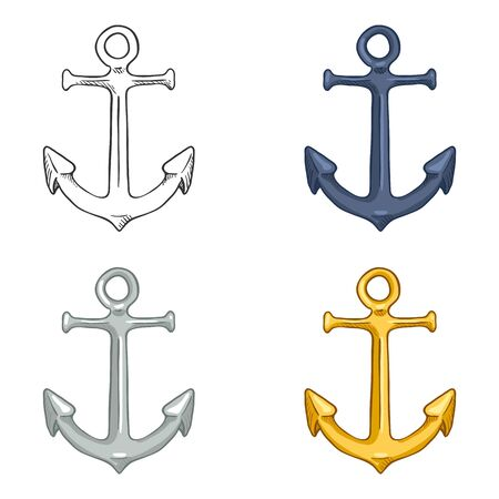 Vector Set of Anchor Illustrations. Sketch and Cartoon Nautical Symbols