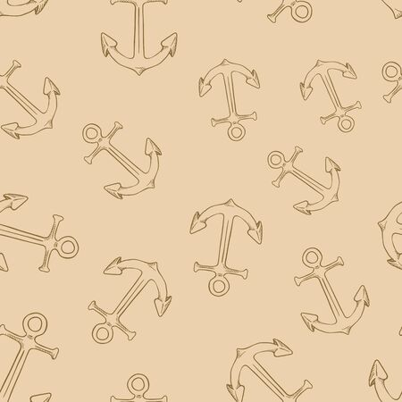Vector Seamless Pattern of Sketch Anchors on Brown Background  イラスト・ベクター素材