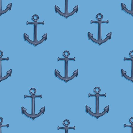 Vector Seamless Pattern of Cartoon Anchors on Blue Background
