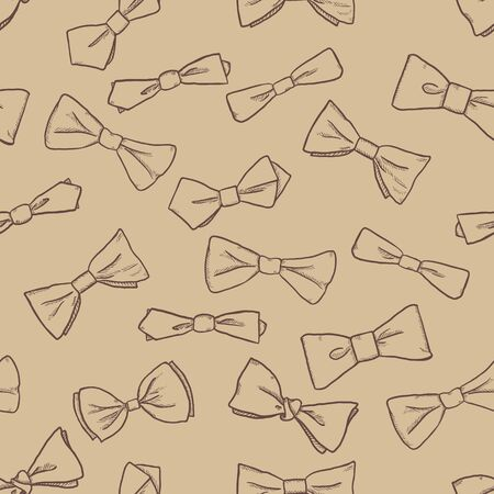 Vector Sketch Seamless Pattern of Bow Ties on Brown Background Illustration