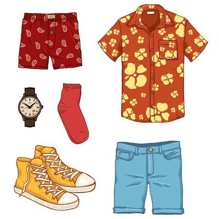 Vector Set of Cartoon Men Clothes. Summer Outfit