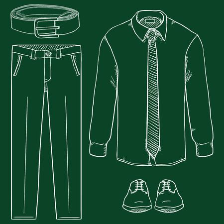 Vector Chalk Sketch Set of Men Business Clothes. Business Fashion.  イラスト・ベクター素材