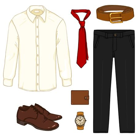 Vector Cartoon Set of Men Business Clothes. Business Outfit.