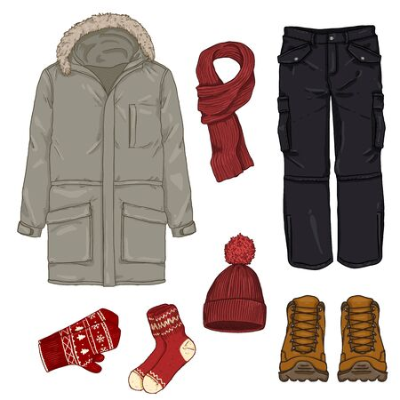 Vector Cartoon Set of Winter Men Clothes.