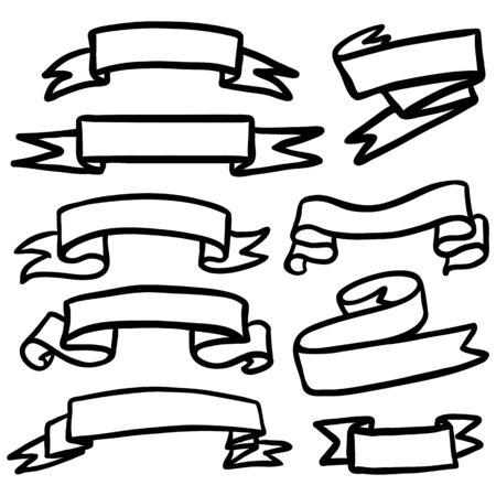 Vector Set of Black Doodle Outline Ribbons for Your Text