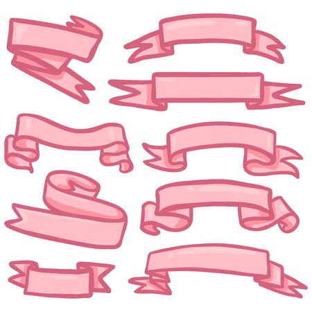 Vector Set of Pink Cartoon Ribbons for Your Text Ilustracja