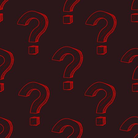 Vector Seamless Pattern of Red Sketch Question Marks on Black Background Stock Illustratie