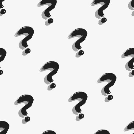 Vector Seamless Pattern of Black Question Marks. Quiz Background. Illustration